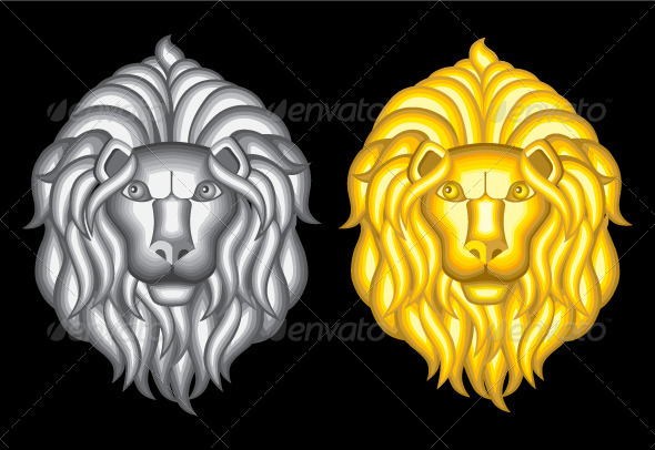 GraphicRiver Silver and Gold Lion Heads 7732737