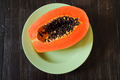 Papaya on the green dish - PhotoDune Item for Sale