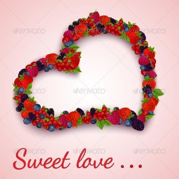 GraphicRiver Berries Heart Emblem 7734076