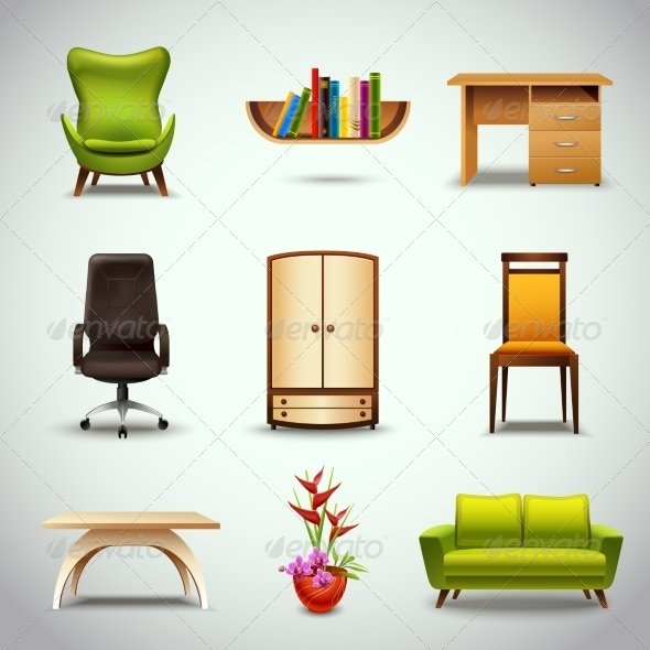 GraphicRiver Furniture Realistic Icons 7734245