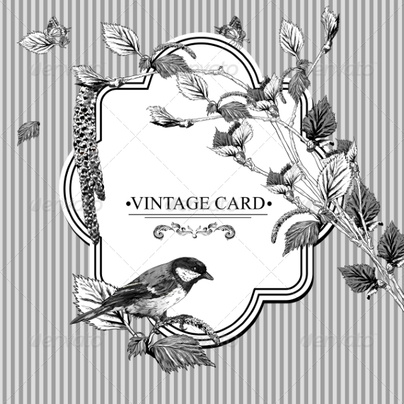 GraphicRiver Vintage Card with Birch Twigs and Bird Tit 7734391