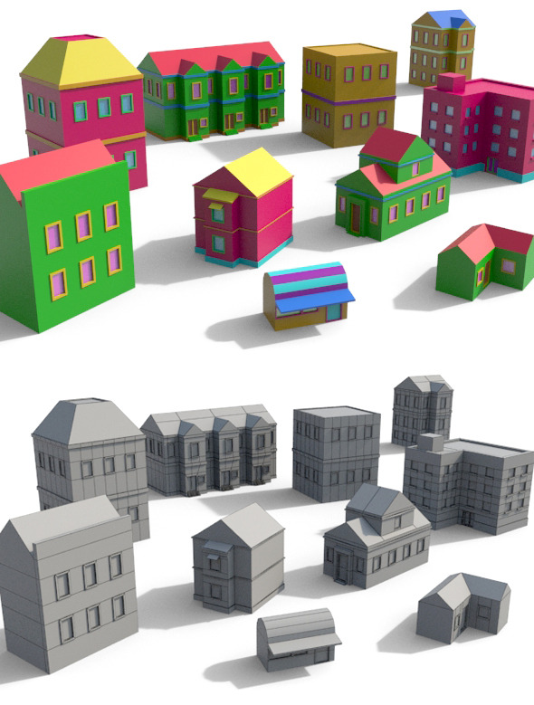 3DOcean Cartoon Building Pack 2 7735022