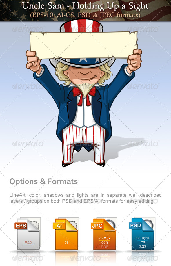 GraphicRiver Uncle Sam Holding Up a Sign 7737612