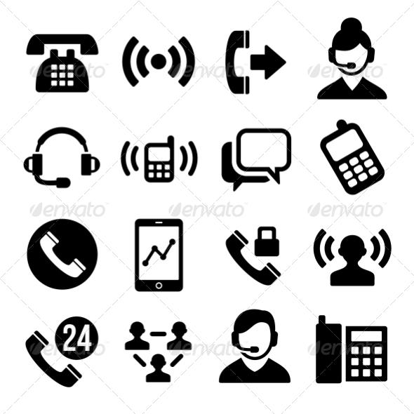 GraphicRiver Phone and Call Center Icons Set 7737846