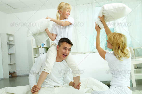 Pillow fight - Stock Photo - Images