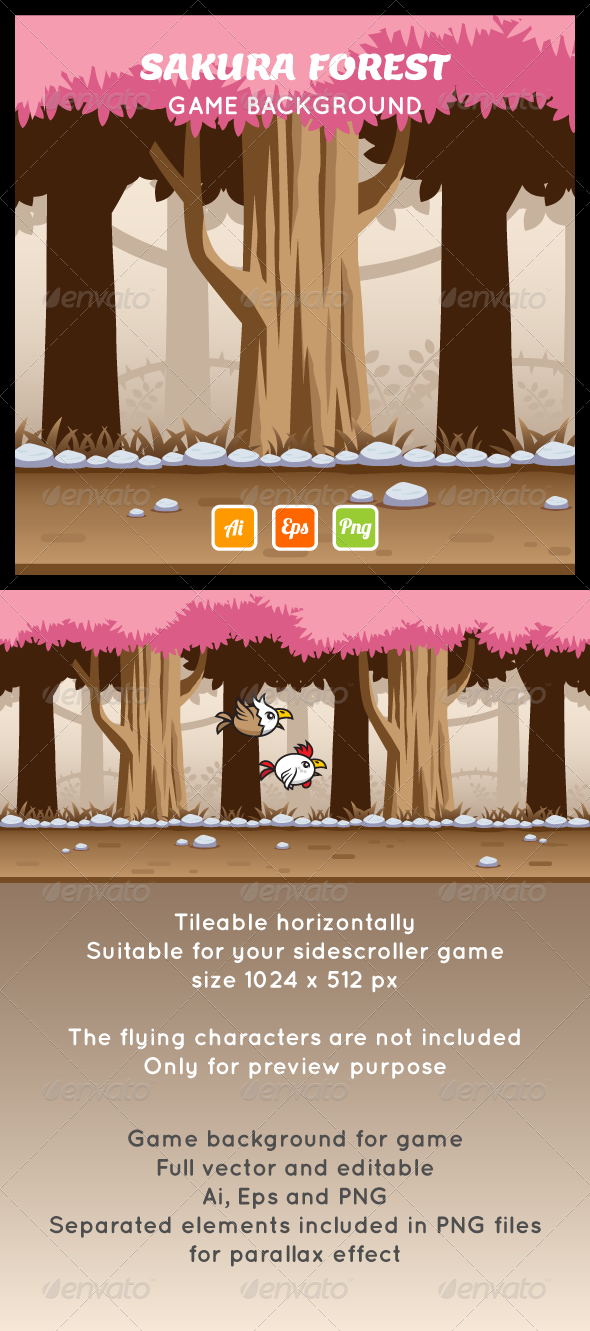 GraphicRiver Game Background Sakura Forest 7737886