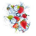 Ice strawberries on white background - PhotoDune Item for Sale