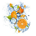 Fresh oranges with ice cubes and water splashes - PhotoDune Item for Sale