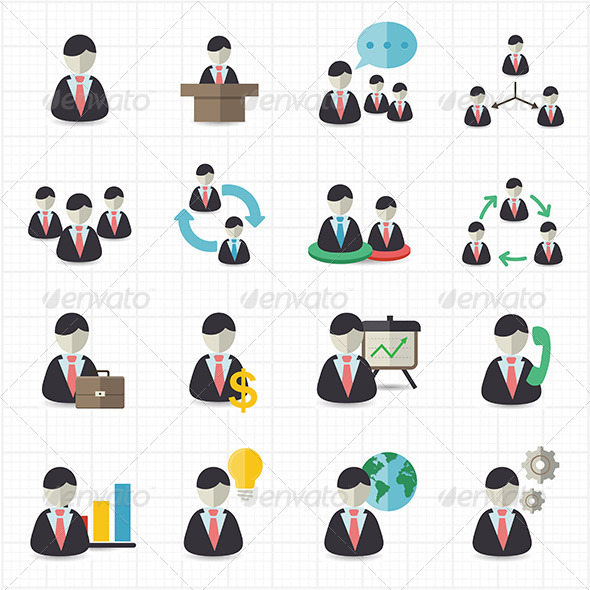 GraphicRiver Business Man and Management Icons 7739353