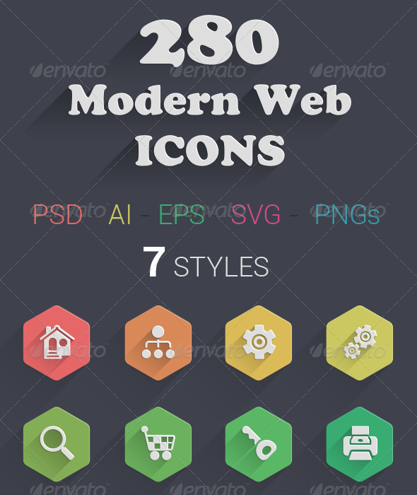 GraphicRiver 280 Modern Web Icons 7739489