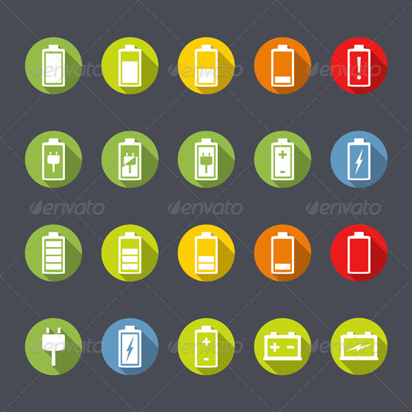 GraphicRiver Battery Icons Flat Design 7740094