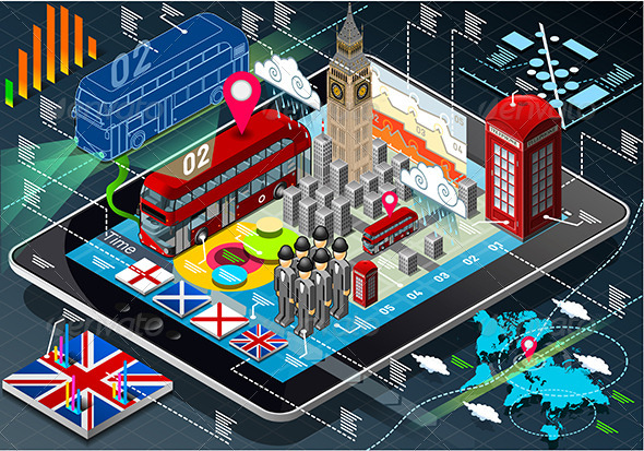 GraphicRiver Isometric Infographic of Great Britain on Tablet 7740609