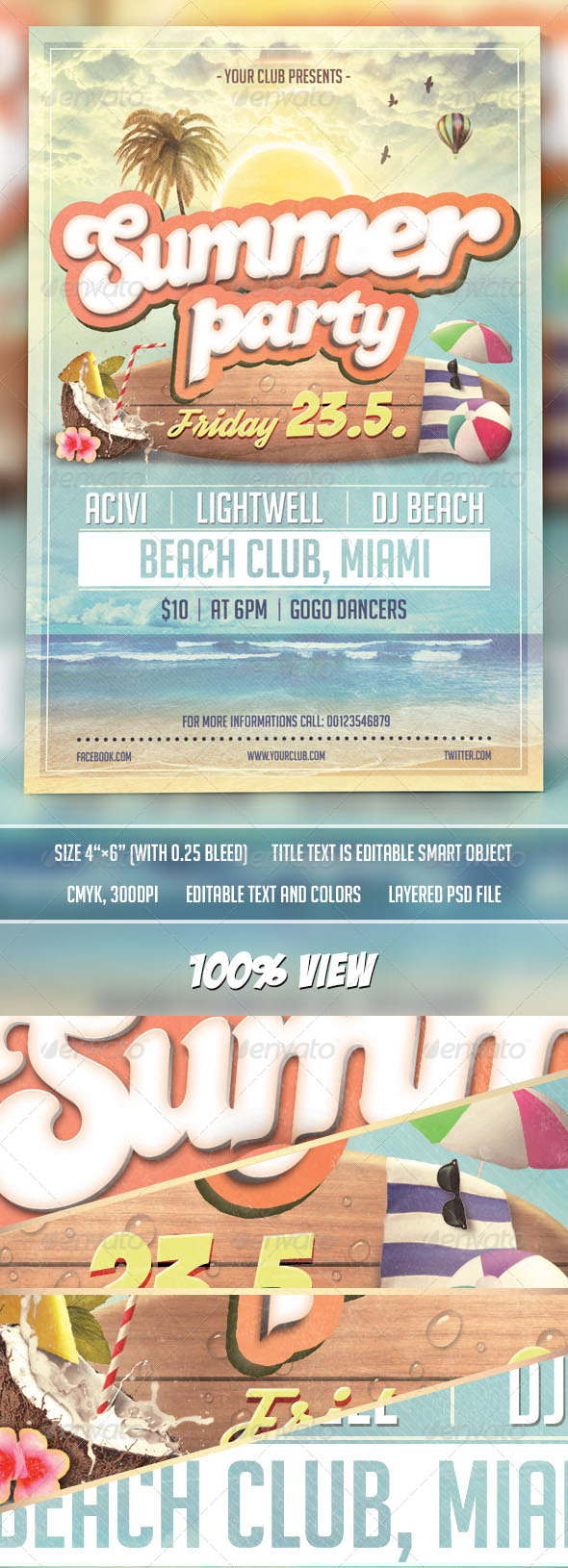 GraphicRiver Summer Party Flyer Template 7715086