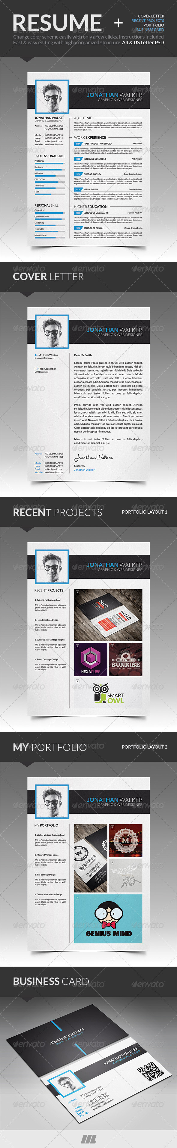 GraphicRiver Modern Resume With Business Card 7741771