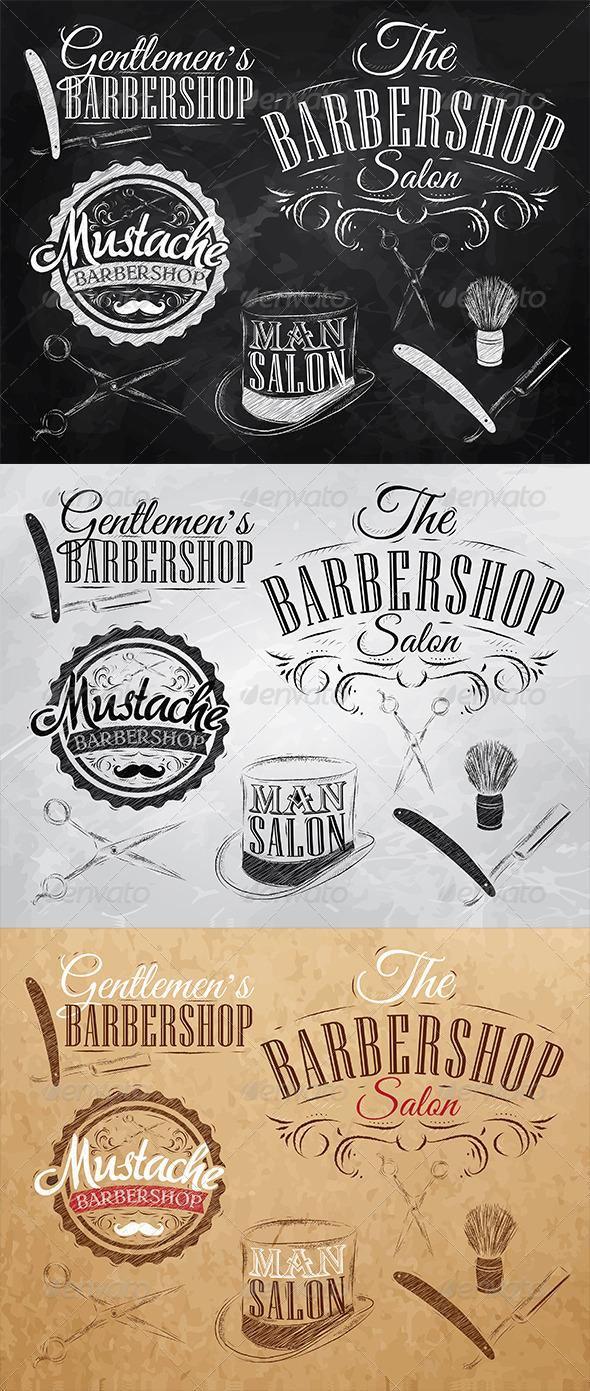 GraphicRiver Set Barbershop retro 7743014