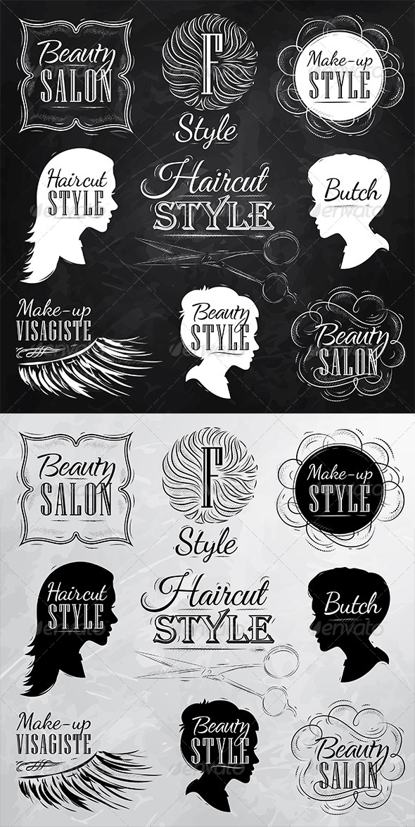 GraphicRiver Set Beauty Salon Chalk 7743371