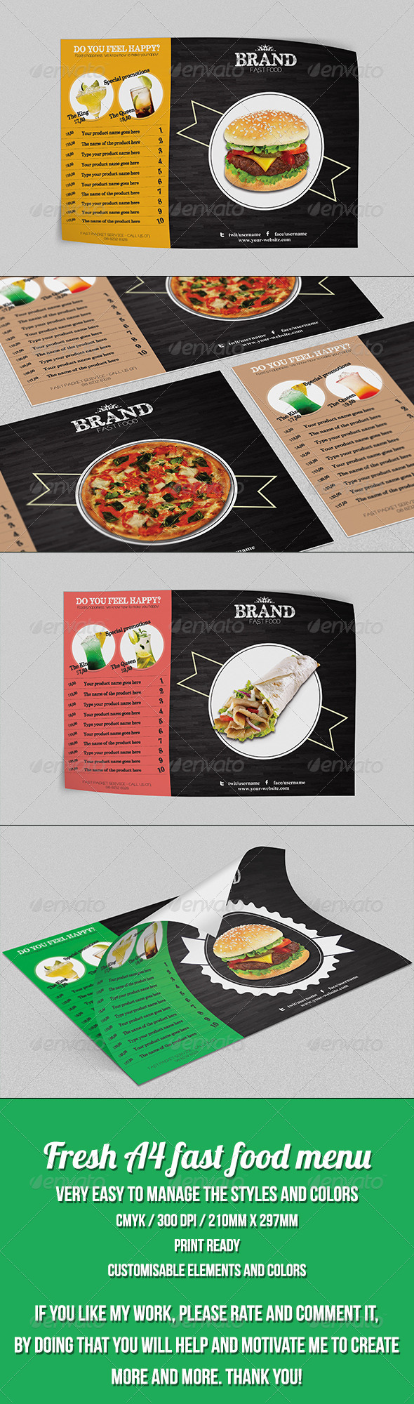 GraphicRiver Elegant Fast Food Menu Template 7743876