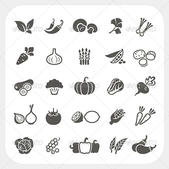 GraphicRiver Vegetable Icons Set 7743964