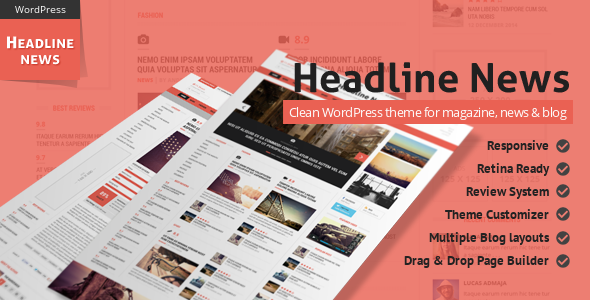 ThemeForest Headline News Clean and Modern Magazine Theme 7744030