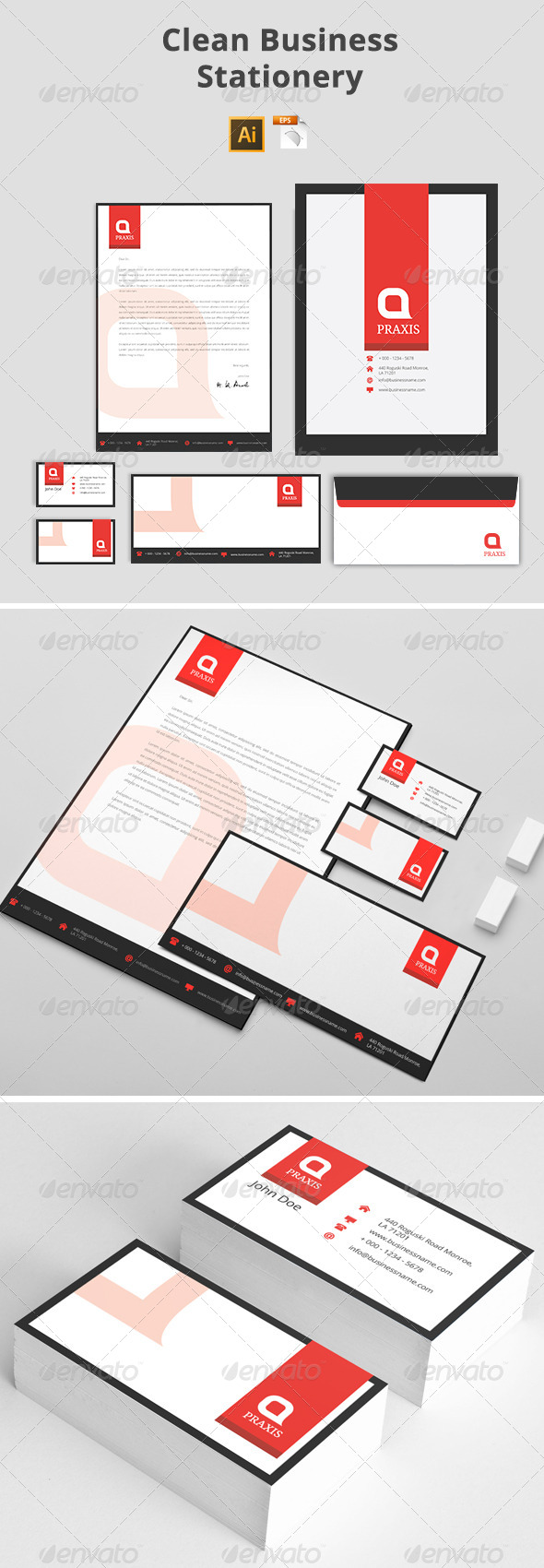 GraphicRiver Clean Business Stationery 7744250