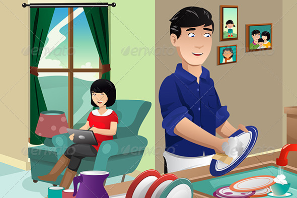 GraphicRiver Husband Washing Dishes 7744463