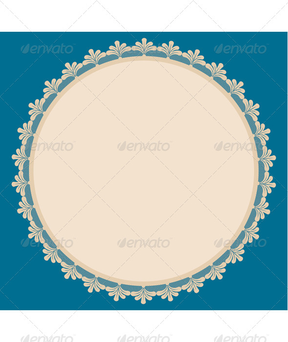 GraphicRiver Beige Round Frame with Lacy Side 7745762