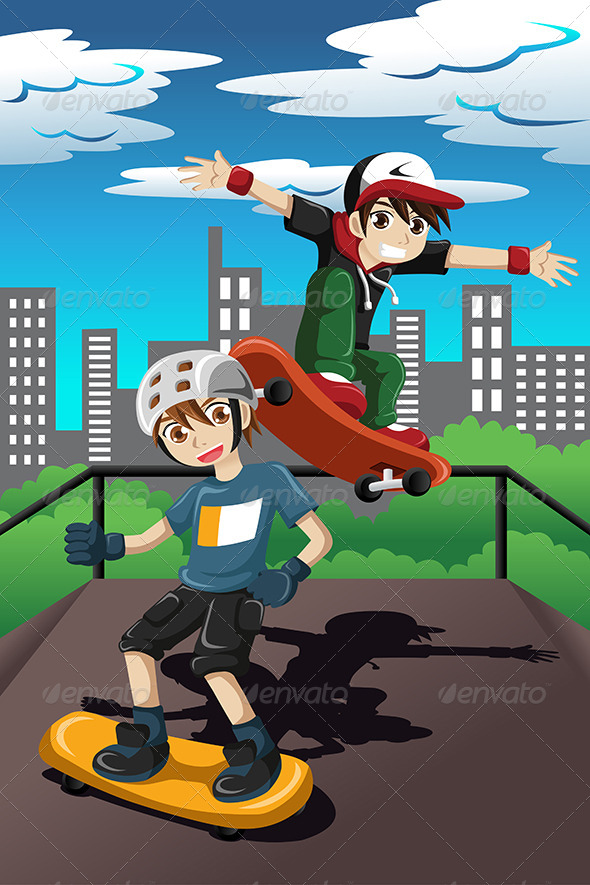 GraphicRiver Kids playing skateboard 7745864