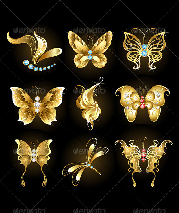 GraphicRiver Golden Butterflies 7746132