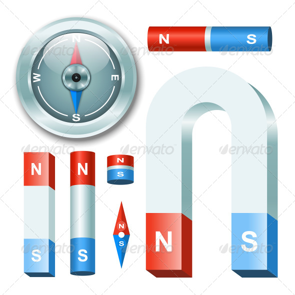 GraphicRiver Magnets with Compass 7746451