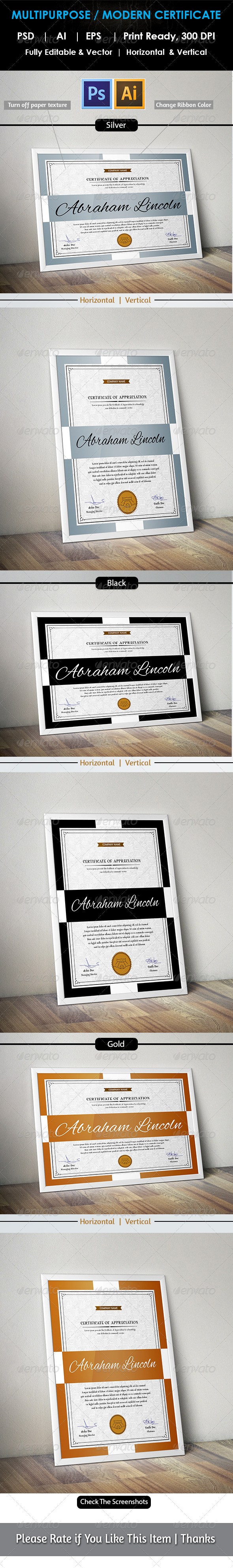 GraphicRiver Simple Multipurpose Certificate GD005 7749139