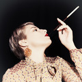 Retro portrait of young woman with  cigarette - PhotoDune Item for Sale