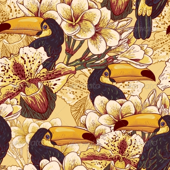 GraphicRiver Toucan Pattern 7750027