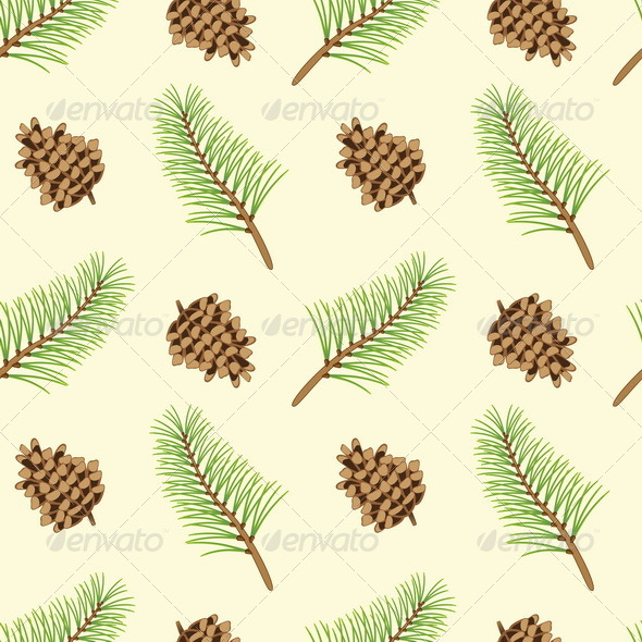 GraphicRiver Pine Branches and Cones Seamless Texture 7750872