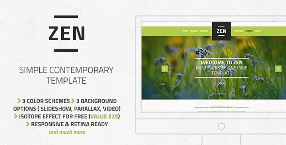 ThemeForest Zen Multipurpose One Page Template 7614064