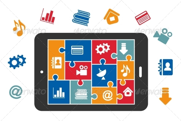 GraphicRiver Multimedia Icons on Tablet Screen 7751648