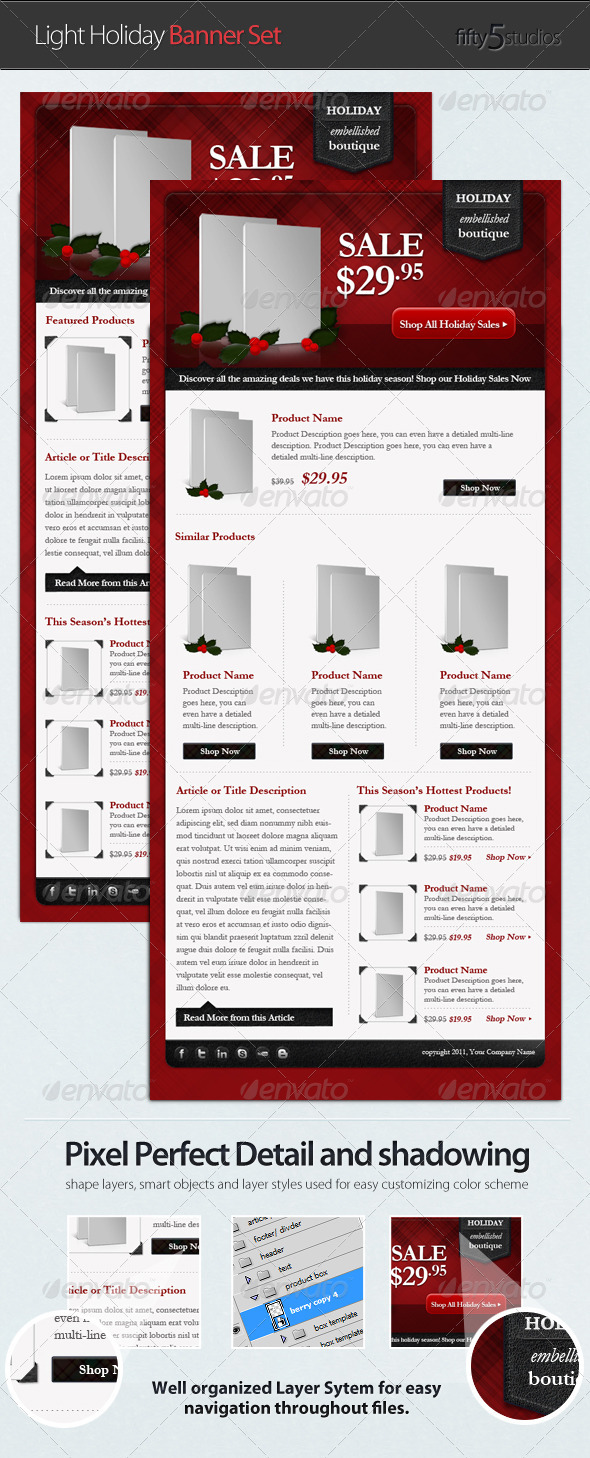 Light Holiday E-commerce Email Newsletter Template - E-newsletters Web Elements