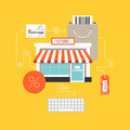 Online shopping flat illustration concept - PhotoDune Item for Sale