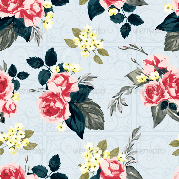 GraphicRiver Seamless Floral Pattern with Pink Roses 7650199