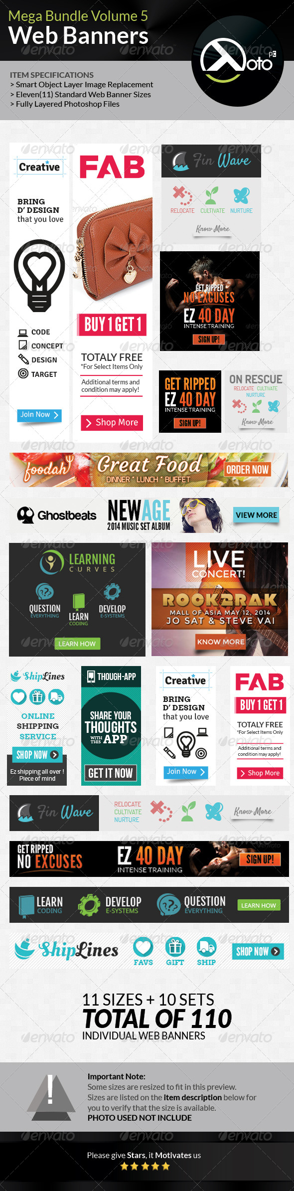 GraphicRiver 10 Set Mega Bundle Mix Web Banners Vol 5 7755124