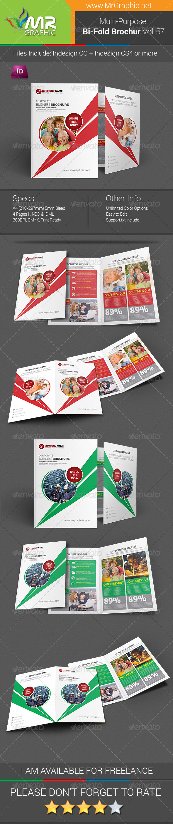 GraphicRiver Multipurpose Bifold Brochure Template Vol-57 7758003