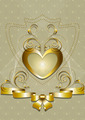 Gold Heart with Golden Decor and Bow - PhotoDune Item for Sale