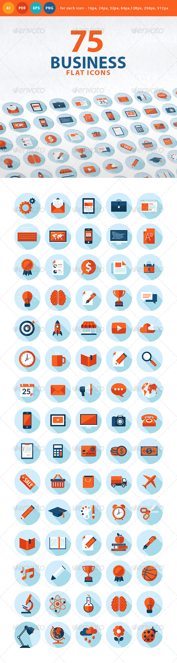 GraphicRiver Set of Flat Design Business Icons 7758907