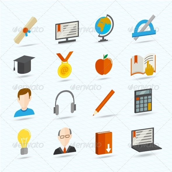 GraphicRiver E-learning Flat Icons 7763474