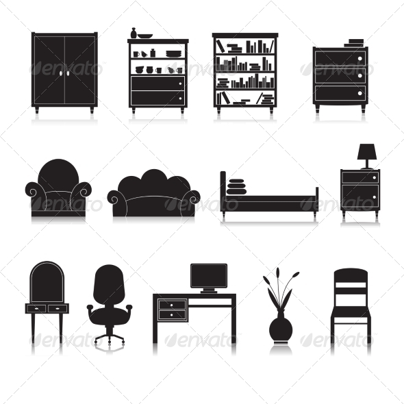 GraphicRiver Furniture Icons Black 7763481