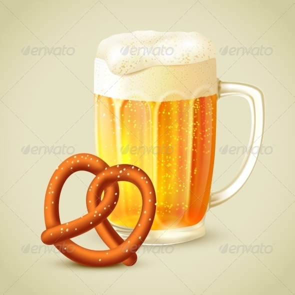 GraphicRiver Mug of Beer Pretzel Emblem 7763484