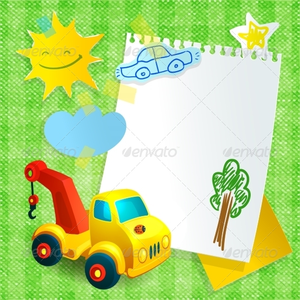 GraphicRiver Toy Construction Machine Paper Postcard Template 7763491