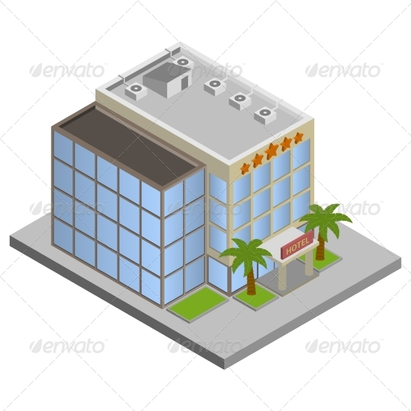 GraphicRiver Hotel Building Isometric 7763504
