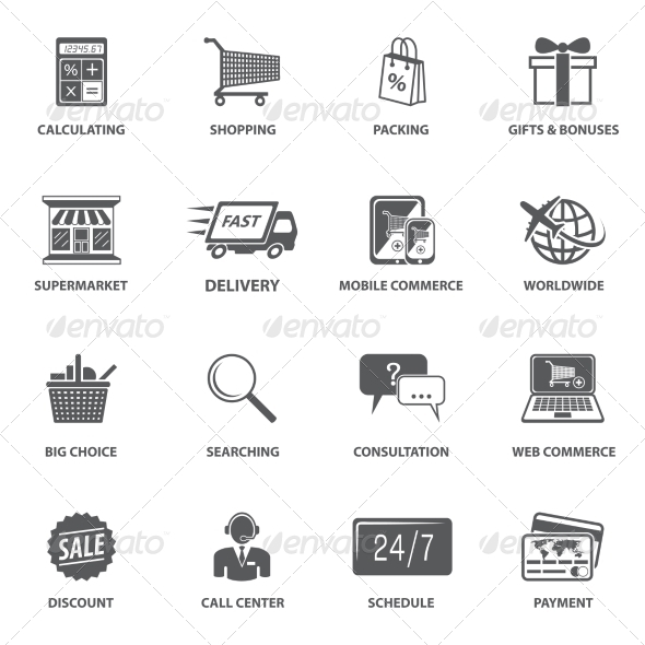 GraphicRiver Shopping E-commerce Icons 7763515
