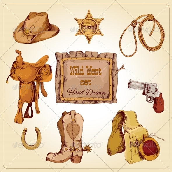 GraphicRiver Wild West Set Colored 7763609