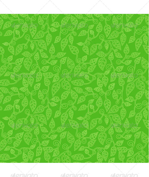 GraphicRiver Green leaves seamless pattern 7745626